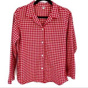 UniQlo Buffalo Check Flannel Lounge Top Red Medium